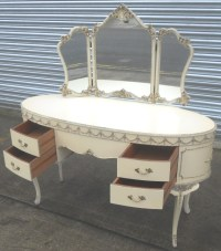 Louis Style White Decorated Oval Kneehole Dressing Table ...